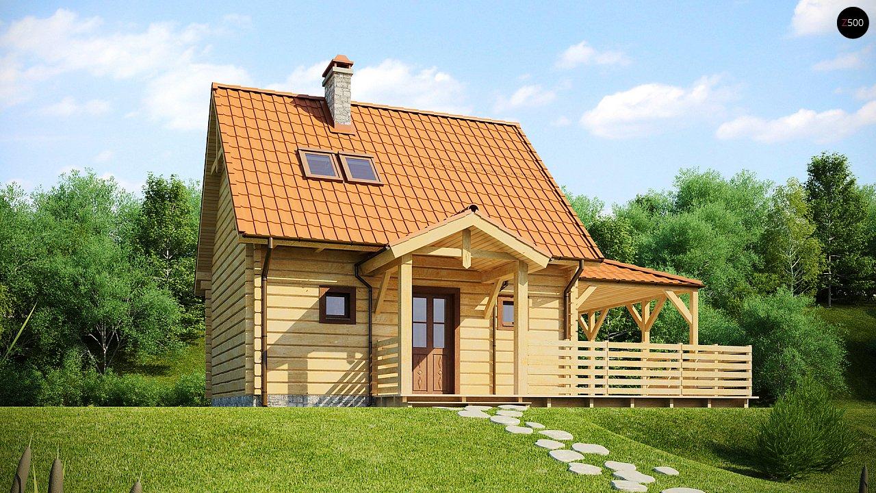 Проект небольшого дома с мансардой, с крытой боковой террасой. - фото 1
