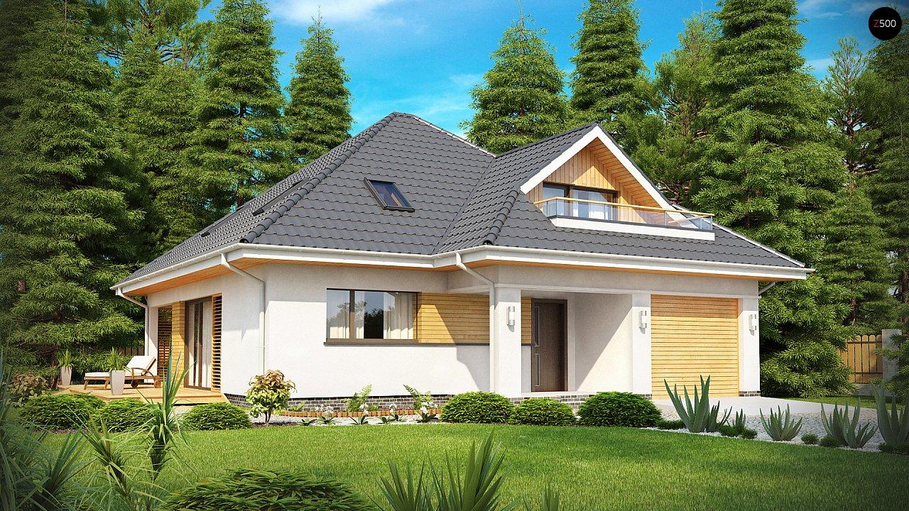 Красивый и функциональный дом с боковой террасой и необычным мансардным окном. 1