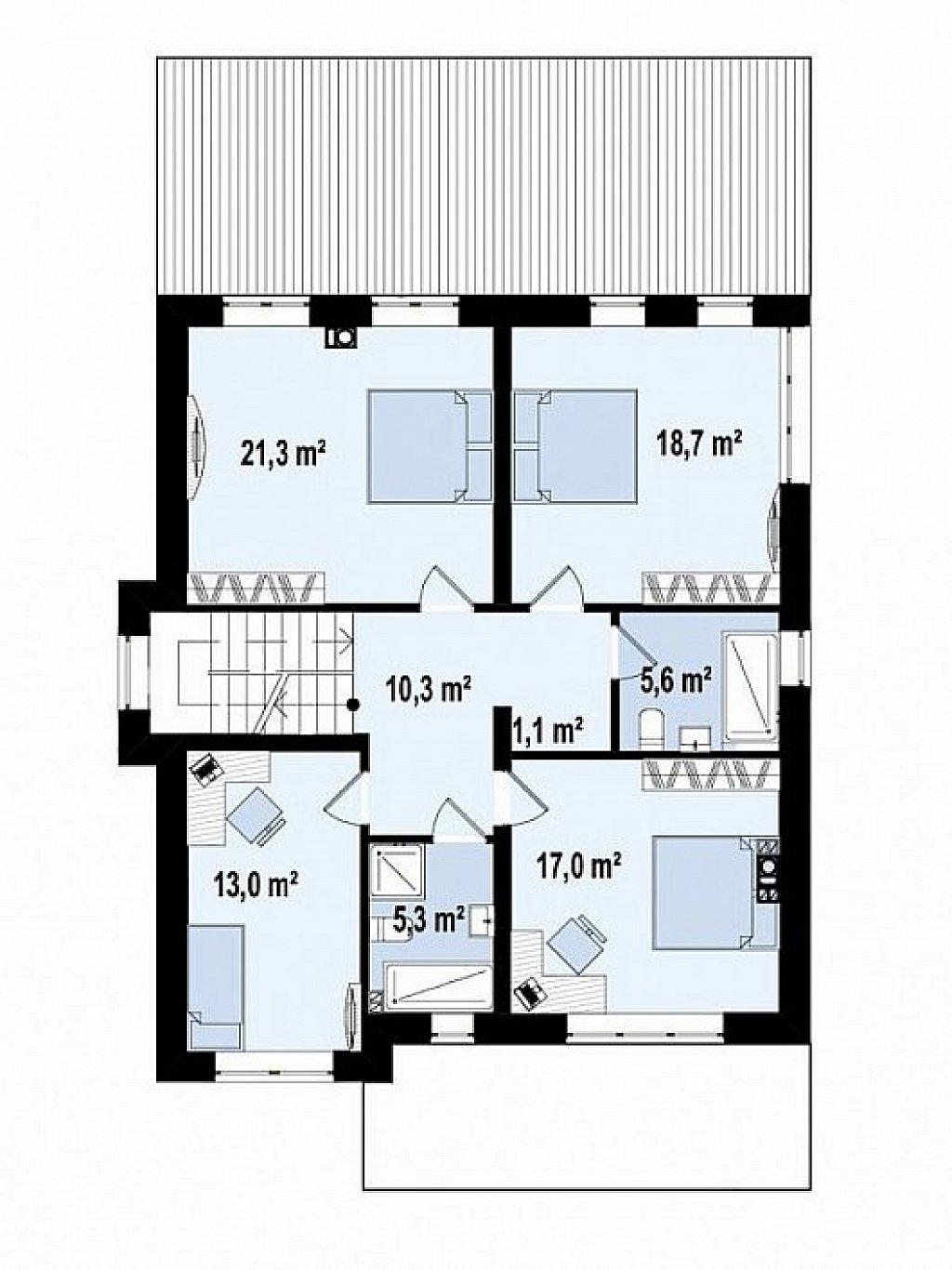 вариант двухэтажного дома Zz2 L BG в классическом стиле с плитами перекрытия план помещений 2