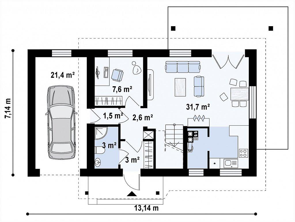 Вариант мансардного дома Z216 с гаражом на одну машину план помещений 1