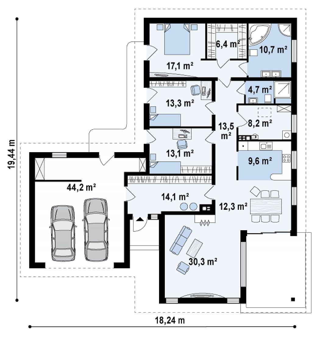 Одноэтажный дом в скандинавском стиле с дополнительной фронтальной террасой и гаражом на две машины. план помещений 1