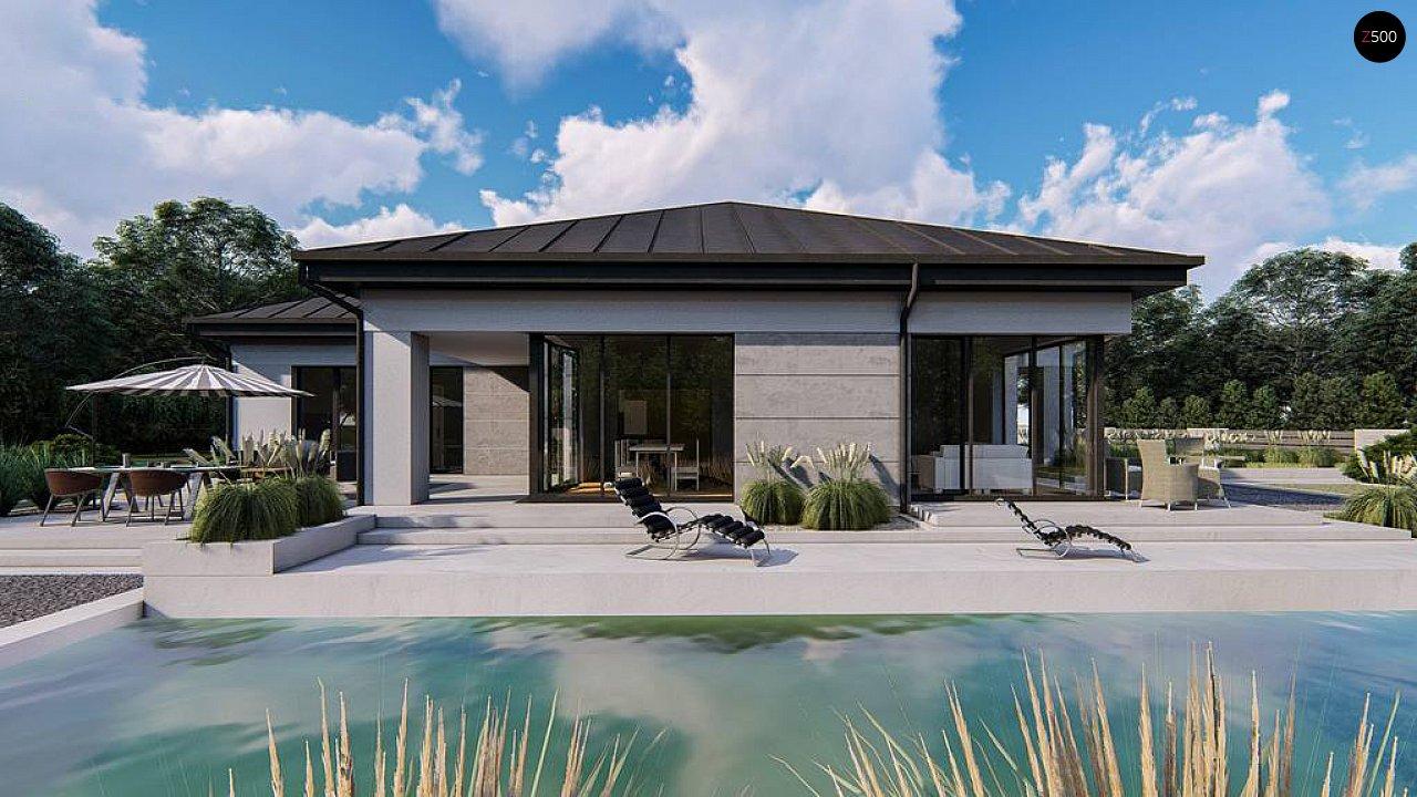 Одноэтажный современный проект дома с многоскатной крышей и гаражом на две машины. 6