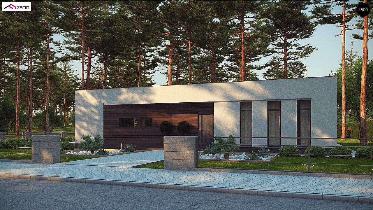Современный одноэтажный дом с боковой террасой 1