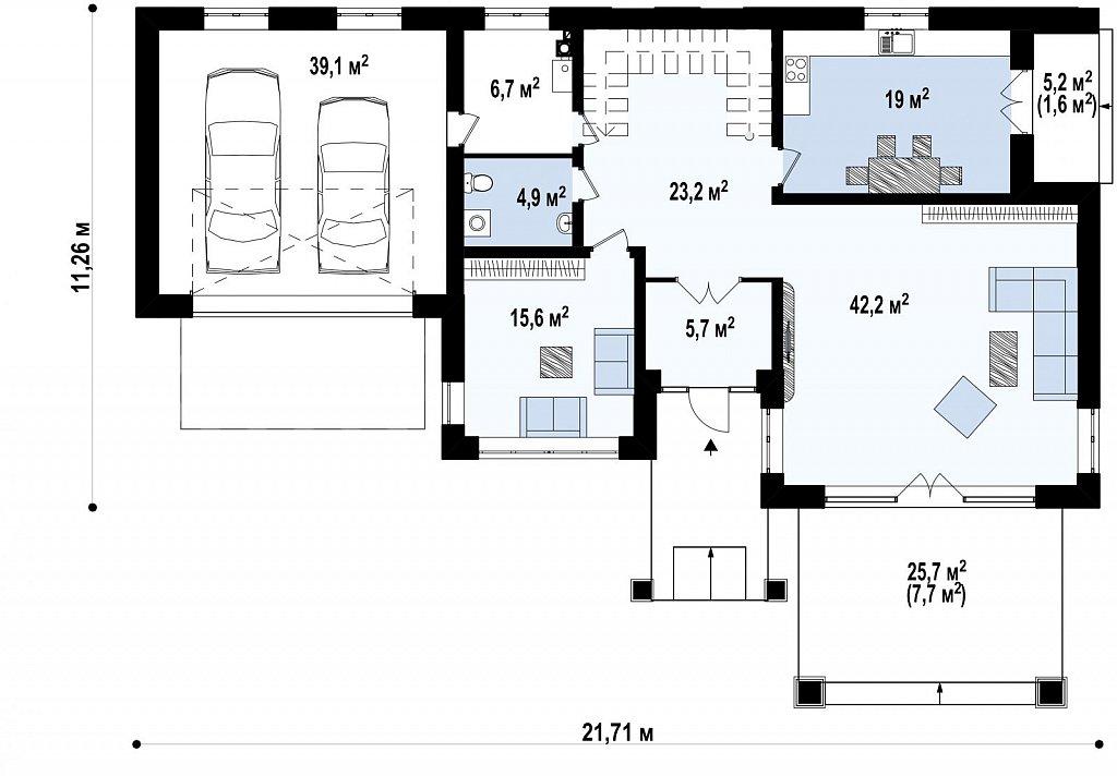 Проект стильного и просторного дома с элементами классической архитектуры. план помещений 1