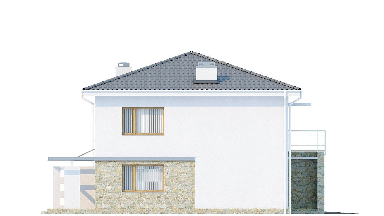 Двухэтажный дом с гаражом для одной машины, с интересным оформлением входной зоны. 6