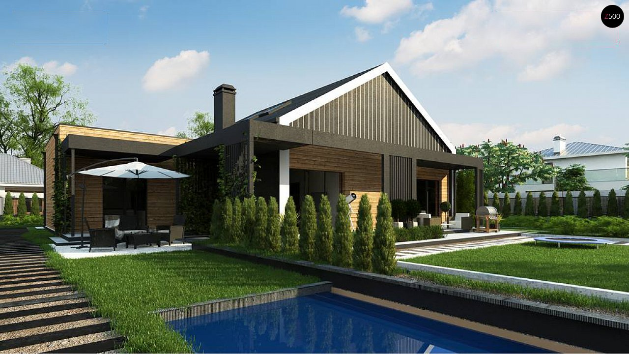 Современный мансардный проект дома с террасой и гаражом на две машины 5