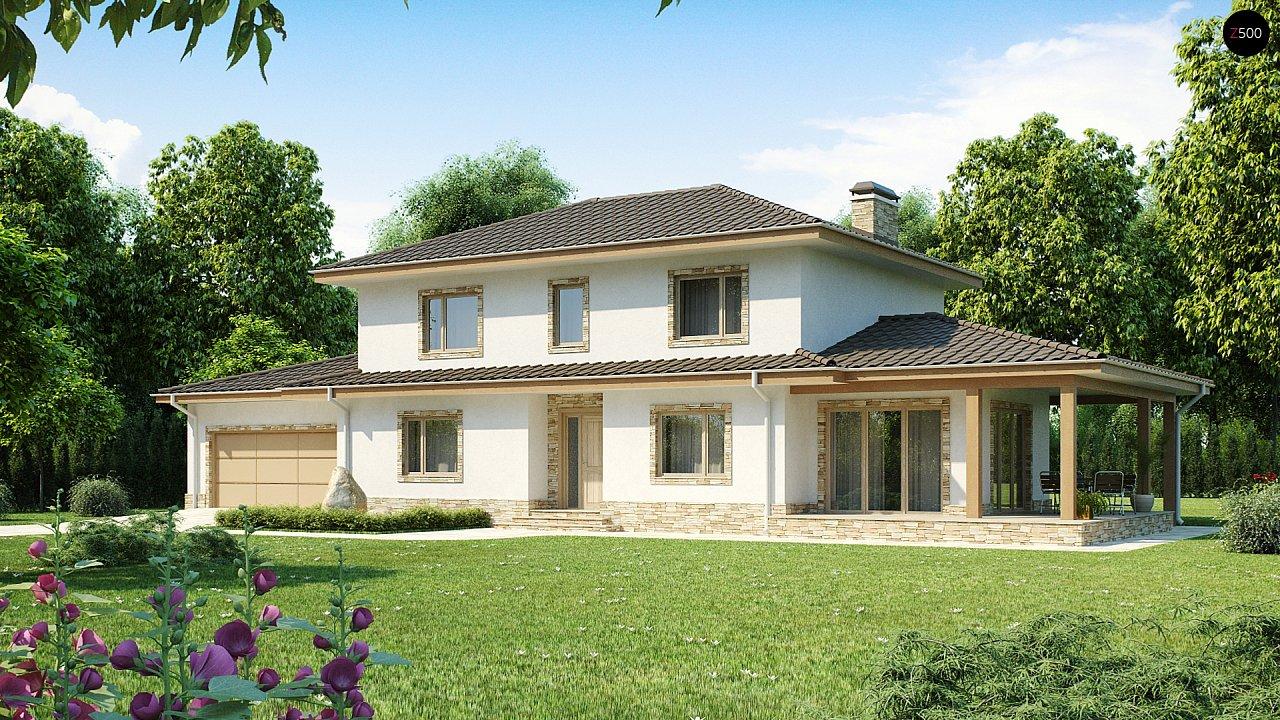 Просторная итальянская двухэтажная вилла с крытой боковой террасой и большим гаражом. - фото 1