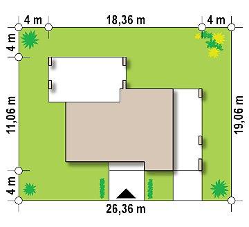 Проект современного одноэтажного дома с черно-белыми фасадами и открытым гаражом на 2 машины план помещений 1