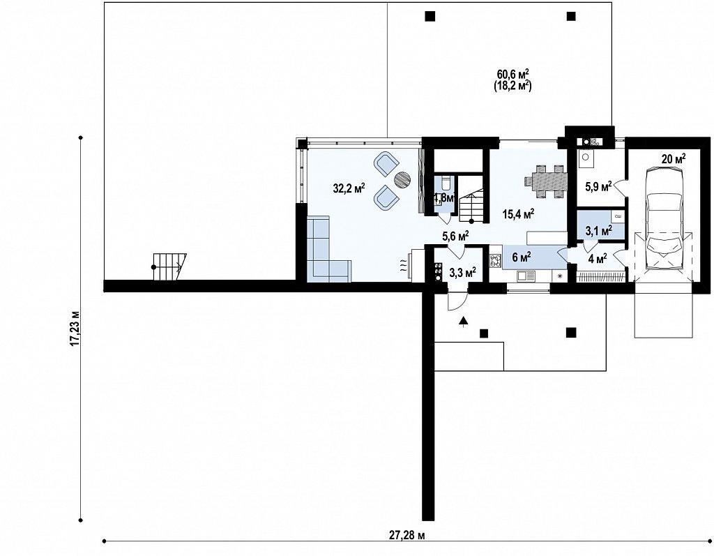 Проект современного двухэтажного дома. Проект подойдет для строительства на участке со склоном. план помещений 1
