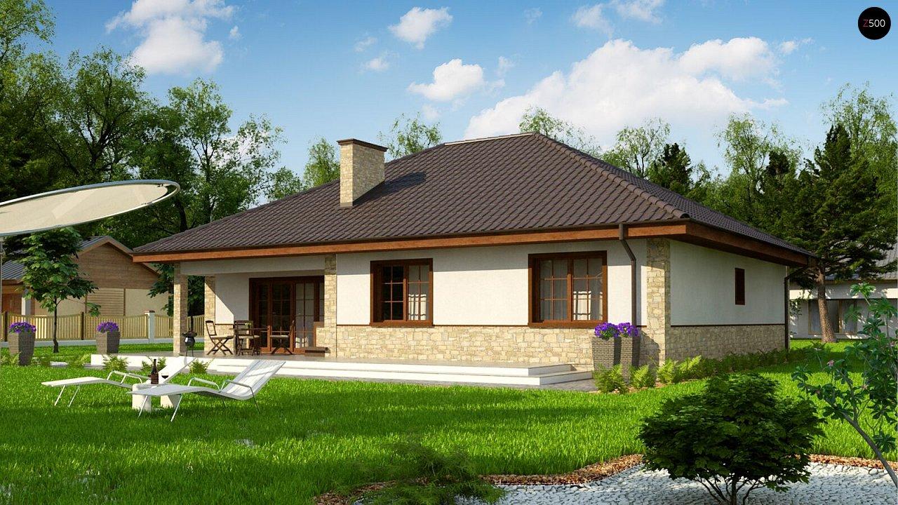 Одноэтажный дом с 4-х скатной кровлей и уютной террасой. - фото 2
