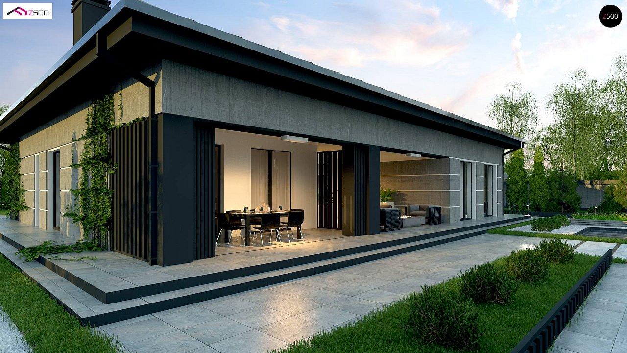 Проект дома с одноуровневой оригинальной планировкой и современным экстерьером. 4