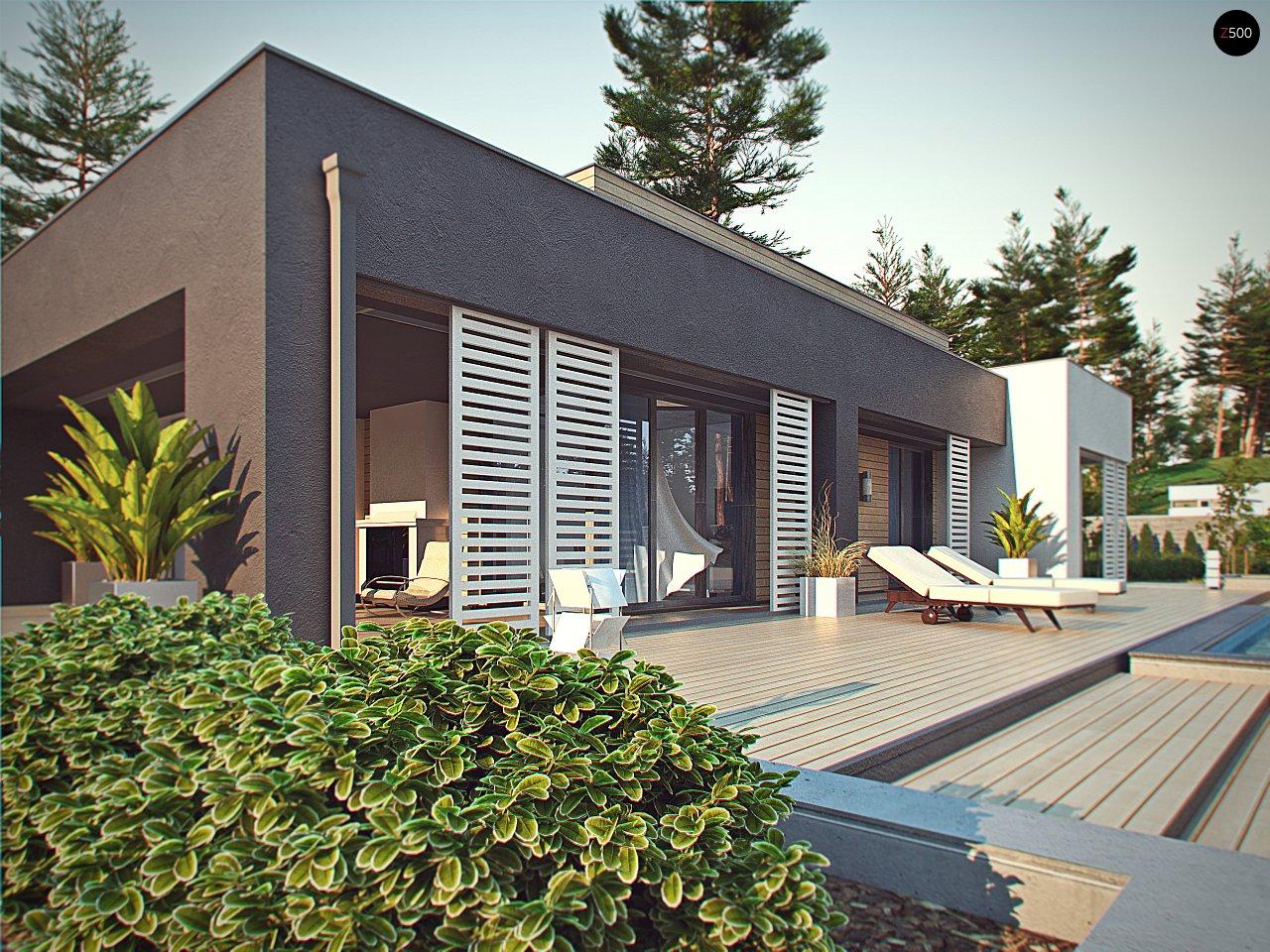 Одноэтажный дом в стиле хай-тек с плоской кровлей и большой площадью остекления. 13