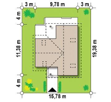 Дом для узкого участка с дополнительной спальней на первом этаже и кухней со стороны сада. план помещений 1