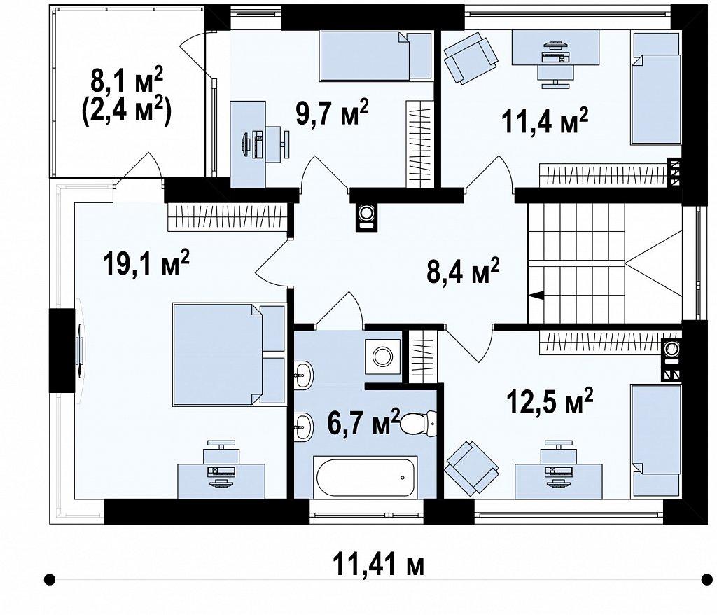 Двухэтажный современный дом с многоскатной низкой крышей, с гостиной с фронтальной стороны. план помещений 2