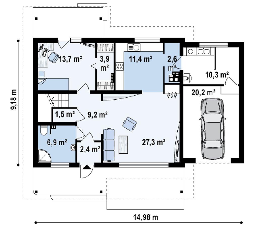 Дом со входом с южной стороны, с большой террасой на втором этаже. план помещений 1