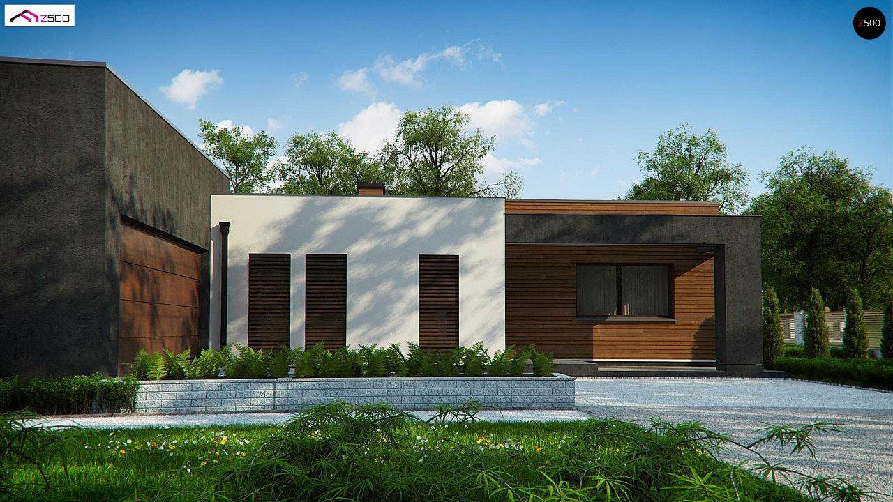 Одноэтажный дом с плоской кровлей и террасой 2