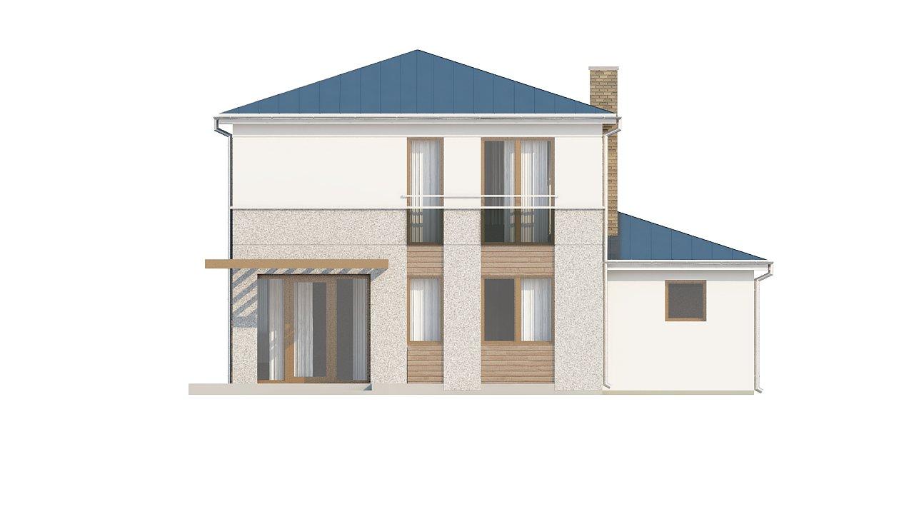 Двухэтажный дом, сочетающий традиционные формы и современный дизайн, с тремя спальнями и гаражом. 24