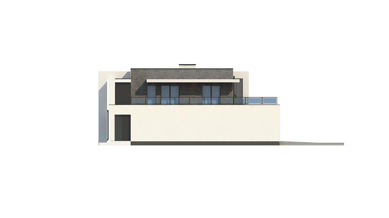 Современный проект домов-близнецов с большим гаражом и террасой на втором этаже. 14