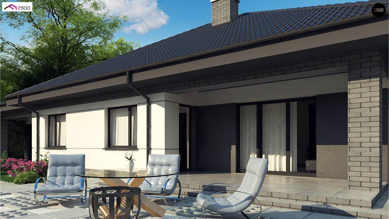 Проект одноэтажного дома с четырехскатной кровлей и гаражом на два автомобиля. 4