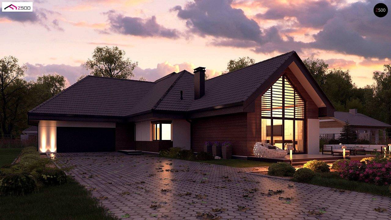 Увеличенная версия Z402 одноэтажный дом с гаражом на два автомобиля - фото 1