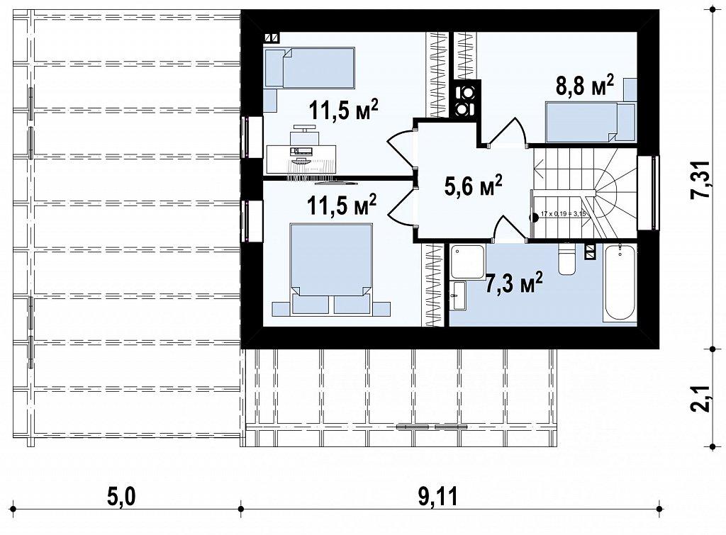 Дом с мансардным этажом и большой террасой план помещений 2