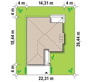 Удобный одноэтажный дом с гаражом для двух автомобилей, с большой площадью остекления в дневной зоне. план помещений 1