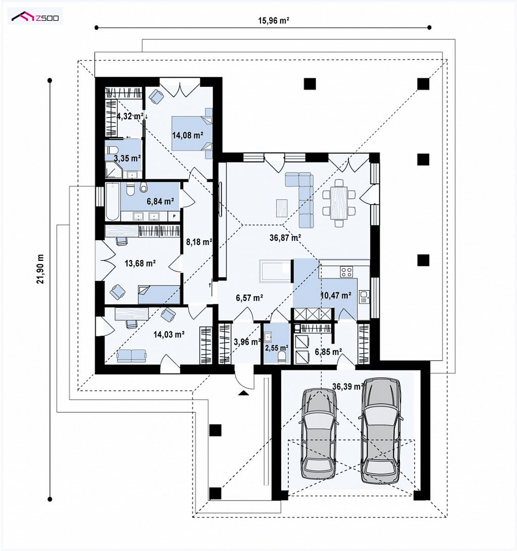 Одноэтажный проект дома на два автомобиля план помещений 1