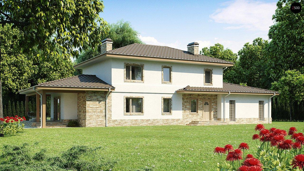 Просторная итальянская двухэтажная вилла с крытой боковой террасой и большим гаражом. - фото 2