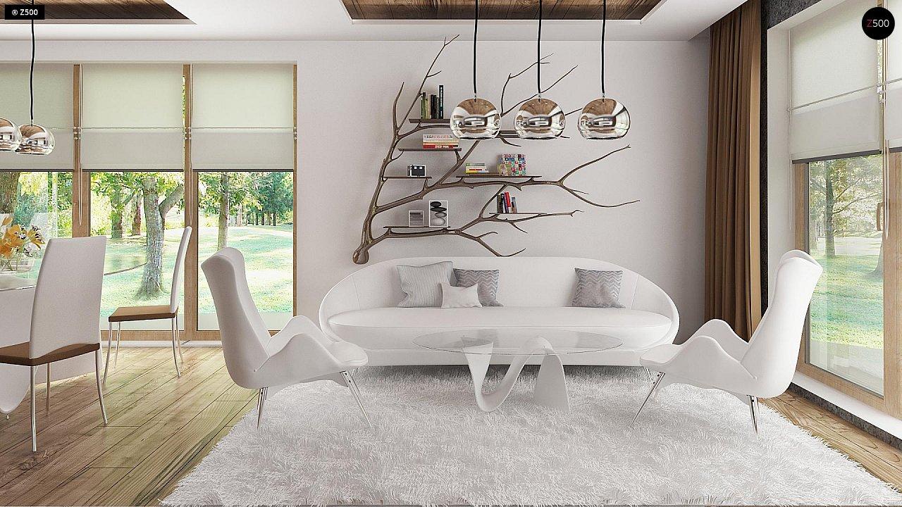 Проект комфортного дома с большим гаражом и дополнительной спальней на первом этаже. 3