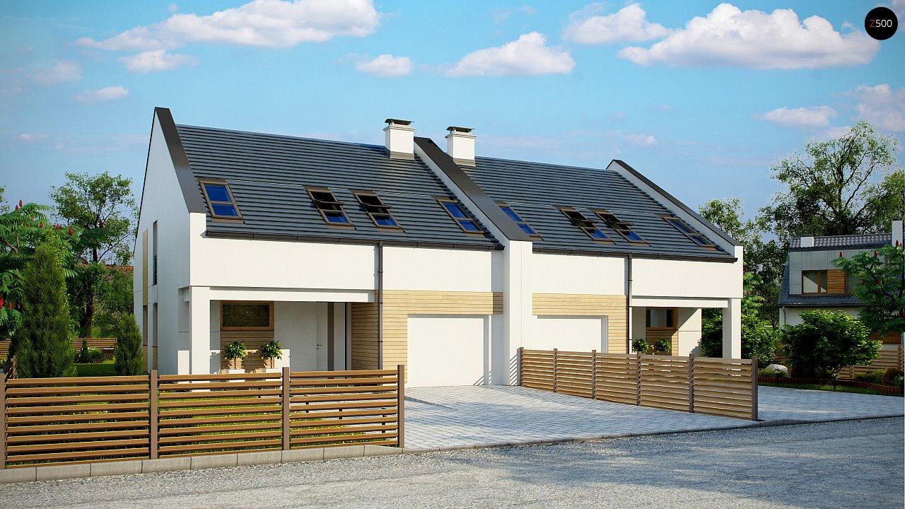 Проект домов для симметричной застройки стильного современного дизайна. 1