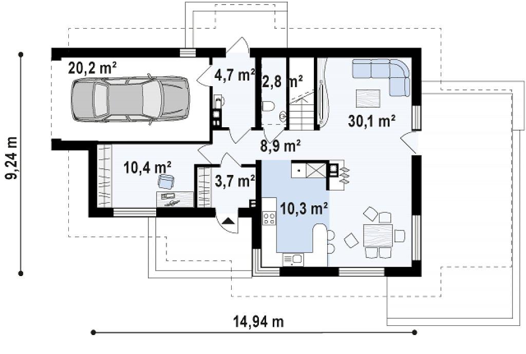 Версия проекта Z150 с гаражом вместо дополнительного помещения. план помещений 1