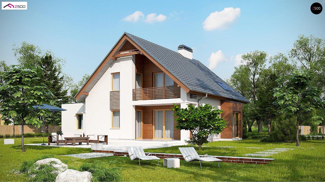 Проект мансардного дома в классическом стиле с гаражом на одно авто. 3