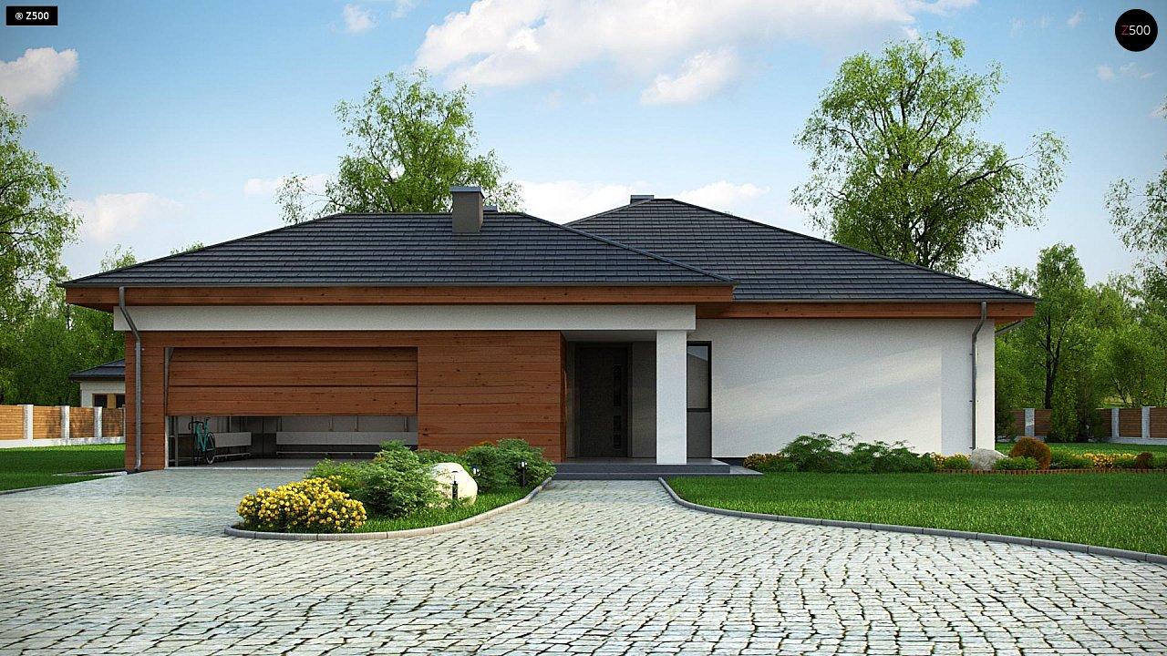 Проект комфортного одноэтажного дома с гаражом для двух авто. 2