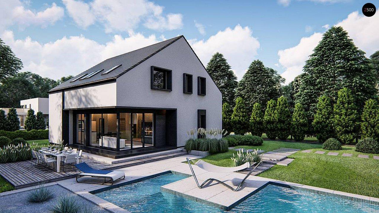 Современный дом с мансардой и двускатной крышей - фото 3