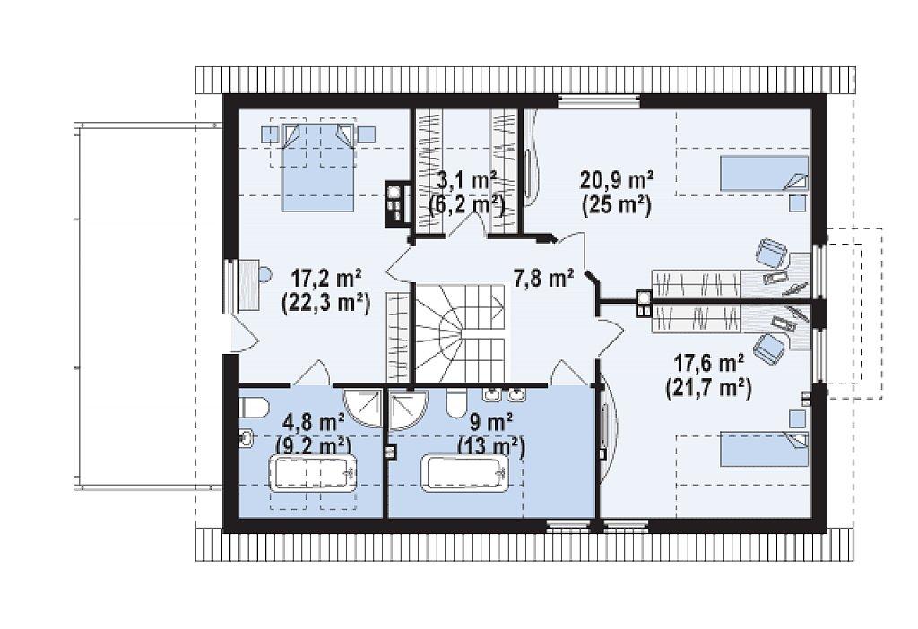 Версия проекта Z236 с увеличенным гаражом для двух автомобилей. план помещений 2