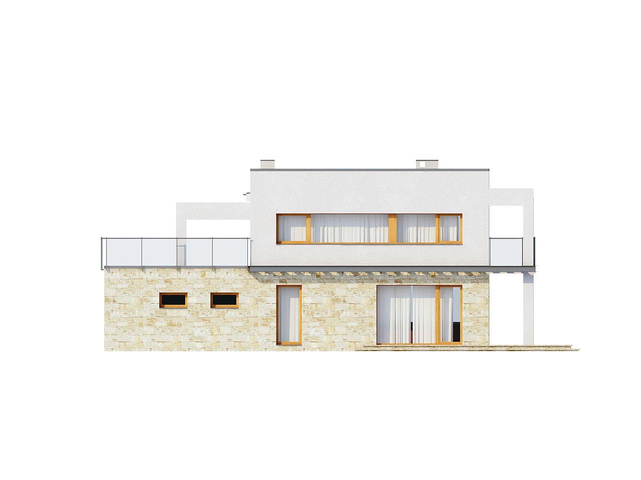Практичный двухэтажный дом в современном стиле с обширной террасой над гаражом. - фото 4