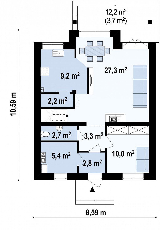 Уютный традиционный дом с эркером и кухней, расположенными на южной стороне, а также с дополнительной спальней на первом этаже. план помещений 1
