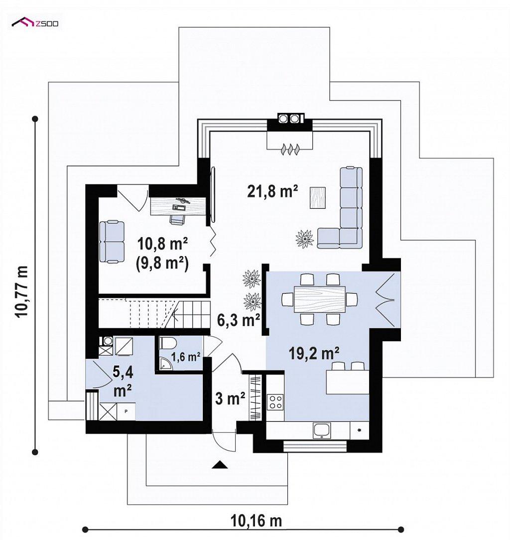 Современный двухэтажный дом без гаража план помещений 1