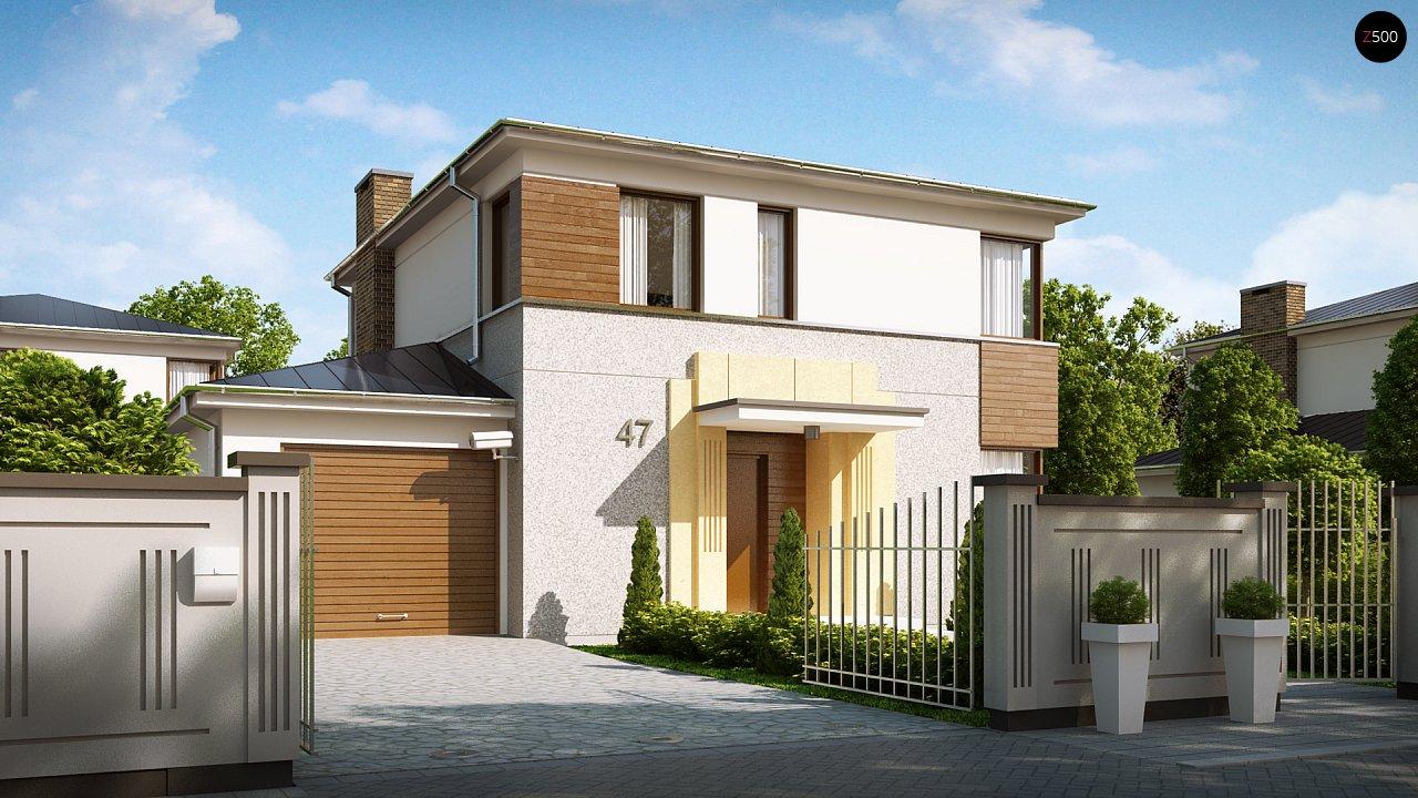 Двухэтажный дом, сочетающий традиционные формы и современный дизайн, с тремя спальнями и гаражом. 1