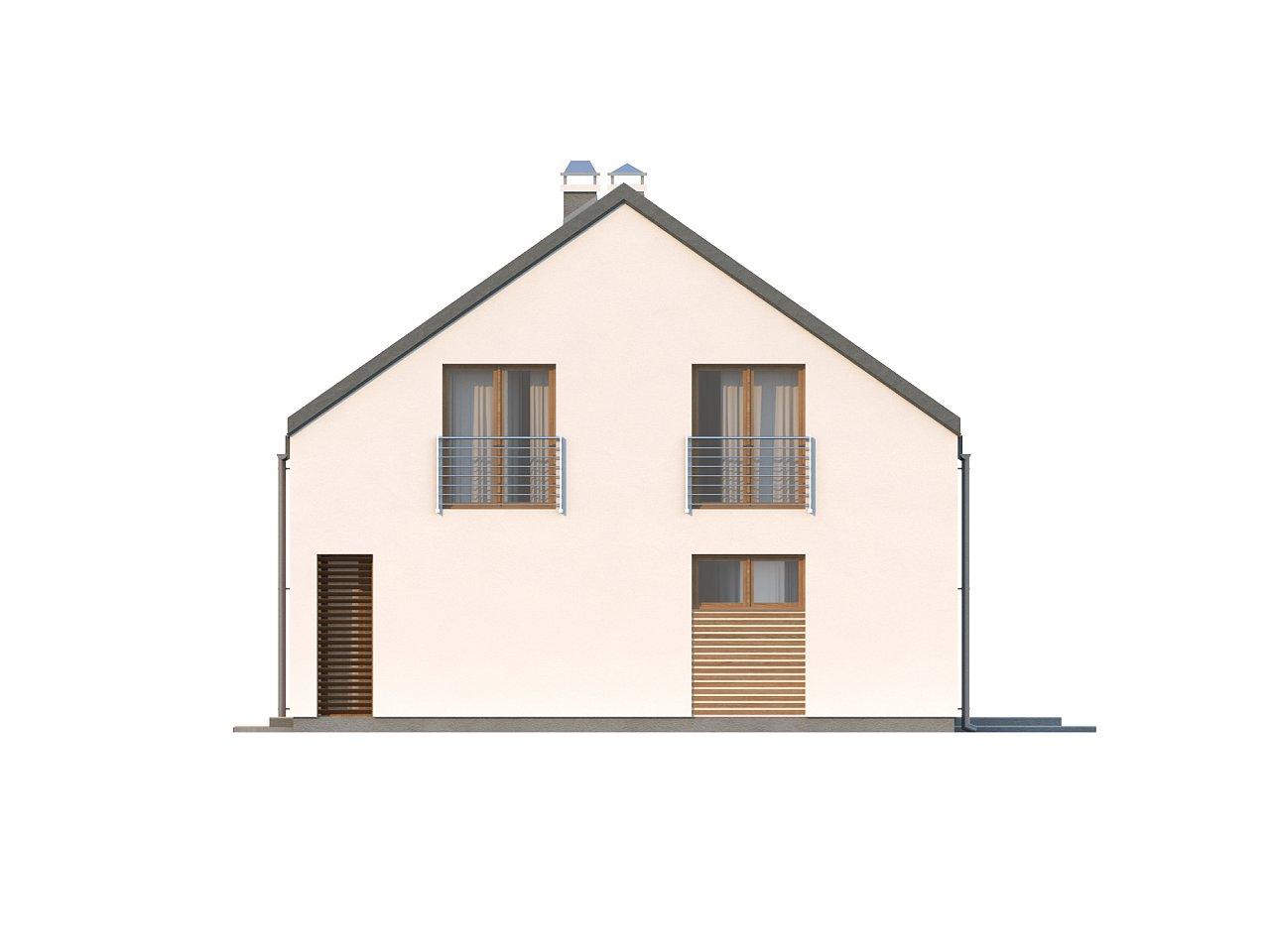 Аккуратный современный дом простой формы с оригинальной двускатной крышей. - фото 5
