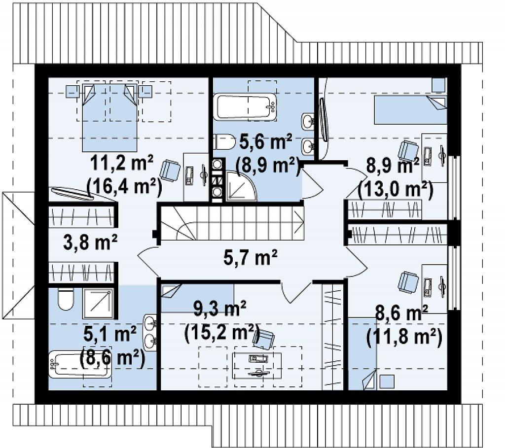 Практичный дом с мансардой, гаражом, кабинетом на первом этаже и стильным эркером. план помещений 2
