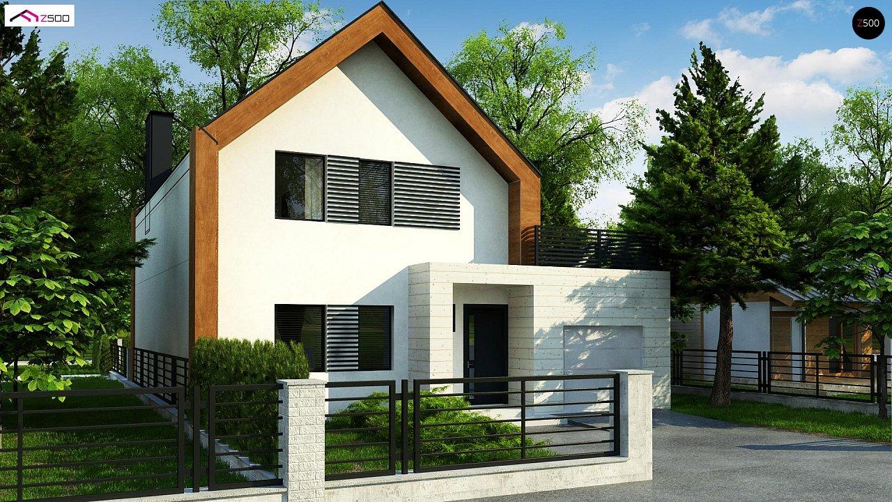 Современный дом с двускатной крышей и гаражом для одного пользователя 1