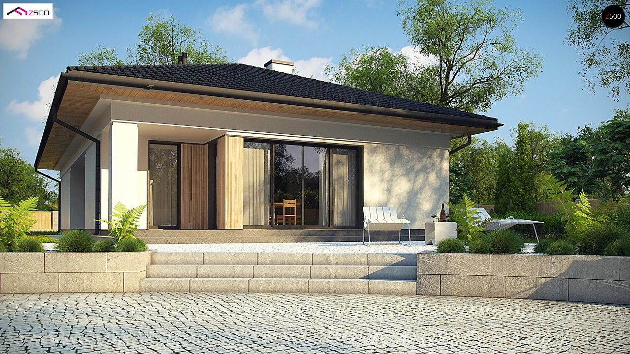 Дом для узкого участка с 4-х скатной крышей - фото 5