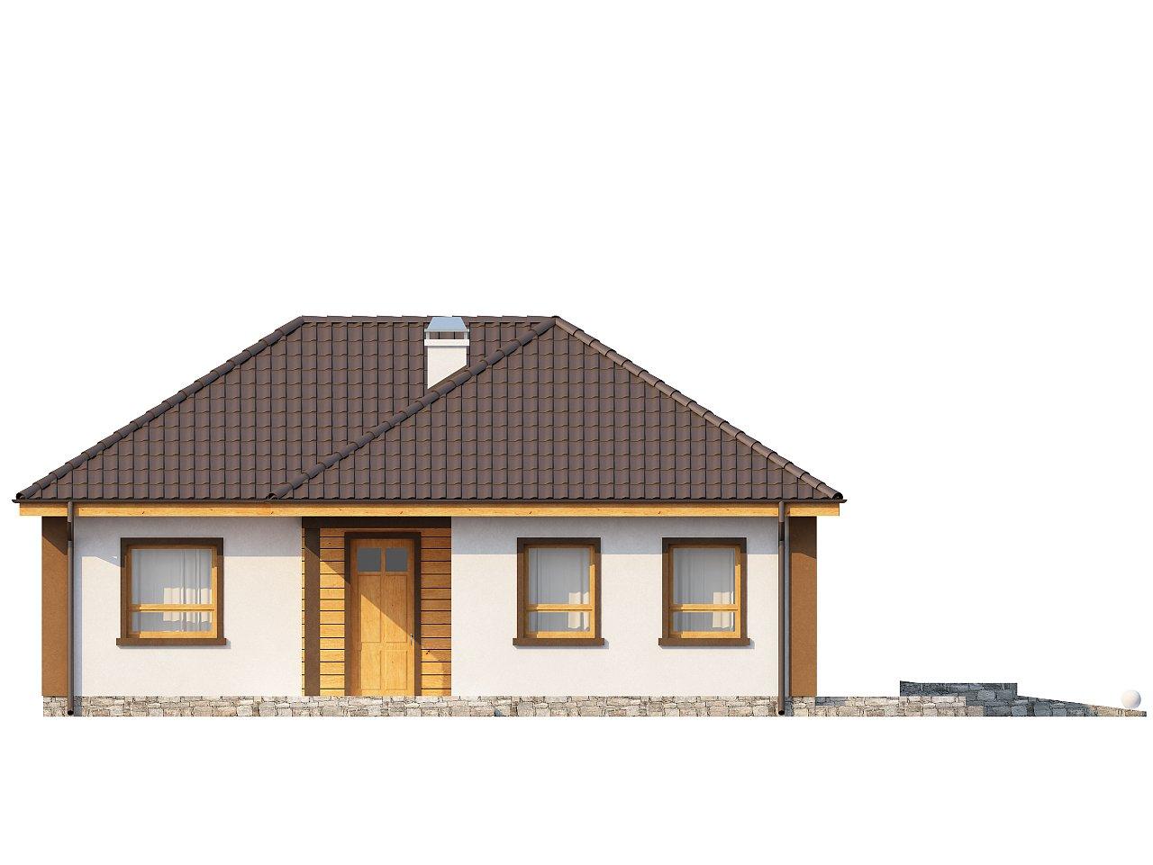 Небольшой комфортный одноэтажный дом в форме буквы «L» с тремя спальнями. - фото 2