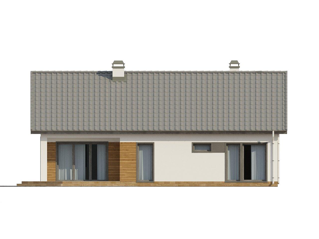 Дом традиционной формы с современными архитектурными дополнениями. Свободная планировка мансарды и антресоль над гостиной. 24