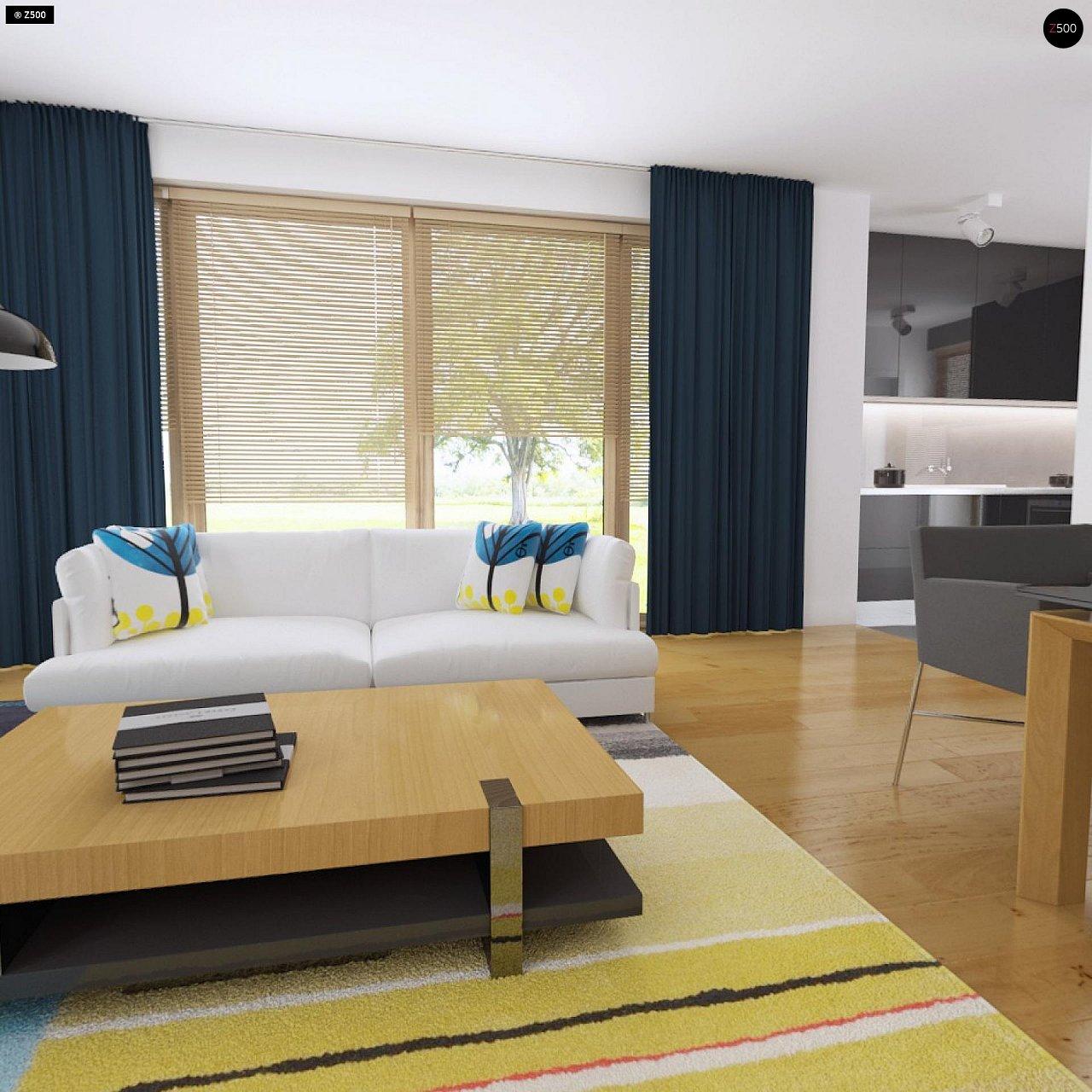 Современный функциональный дом с большой площадью остекления в гостиной. 5