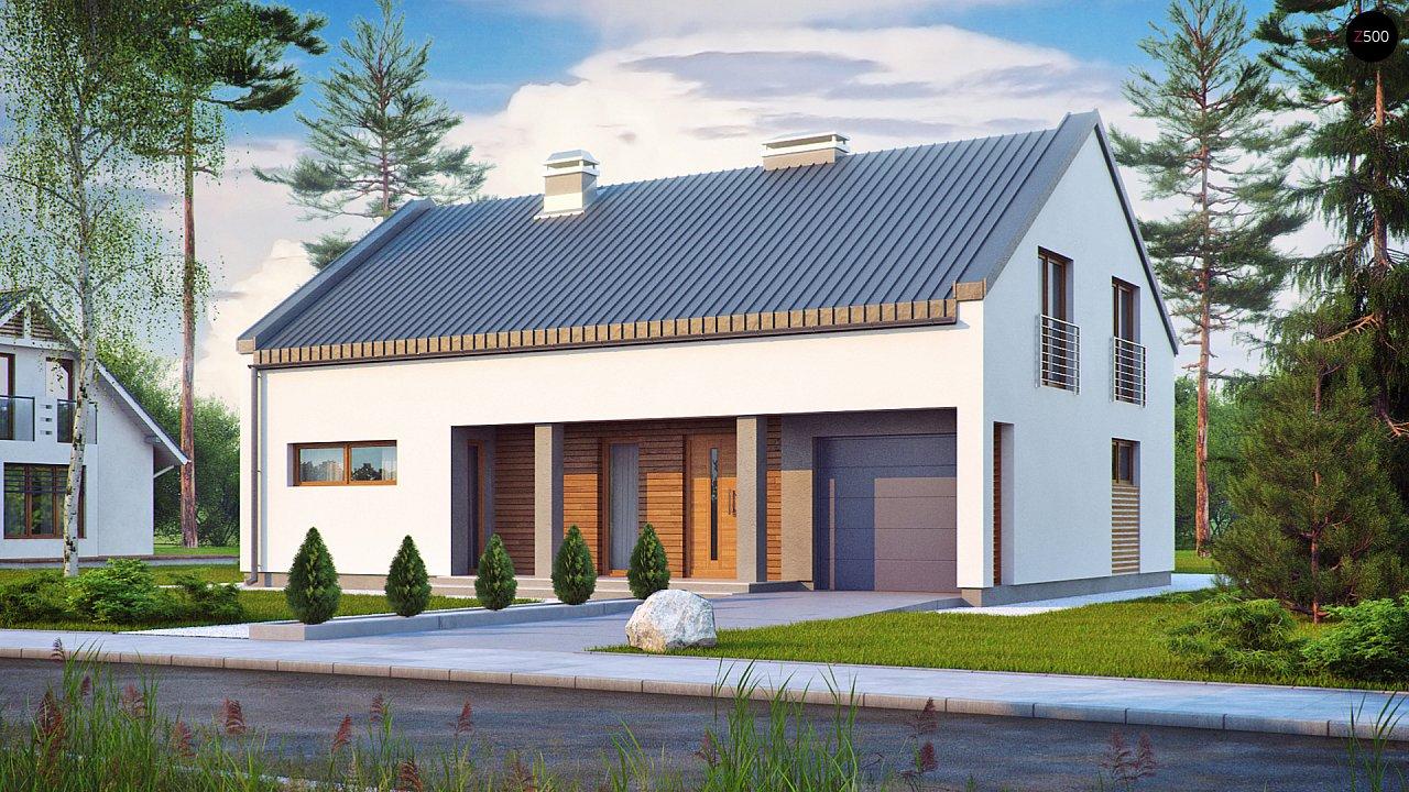 Аккуратный современный дом простой формы с оригинальной двускатной крышей. - фото 1