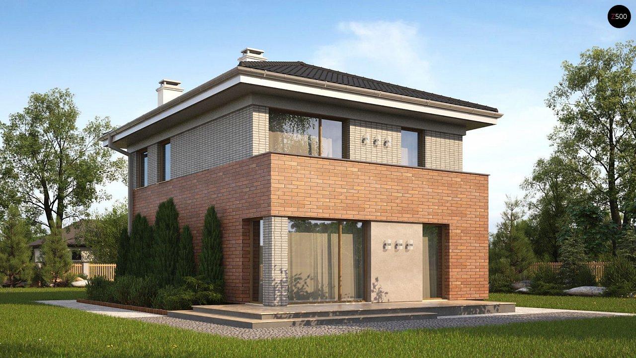 Проект компактного, функционального дома, с кирпичной облицовкой фасадов. 1