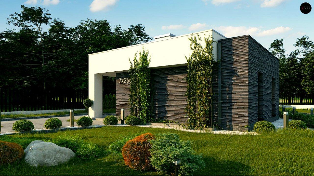 Небольшой современный одноэтажный проект дома с плоской кровлей - фото 6
