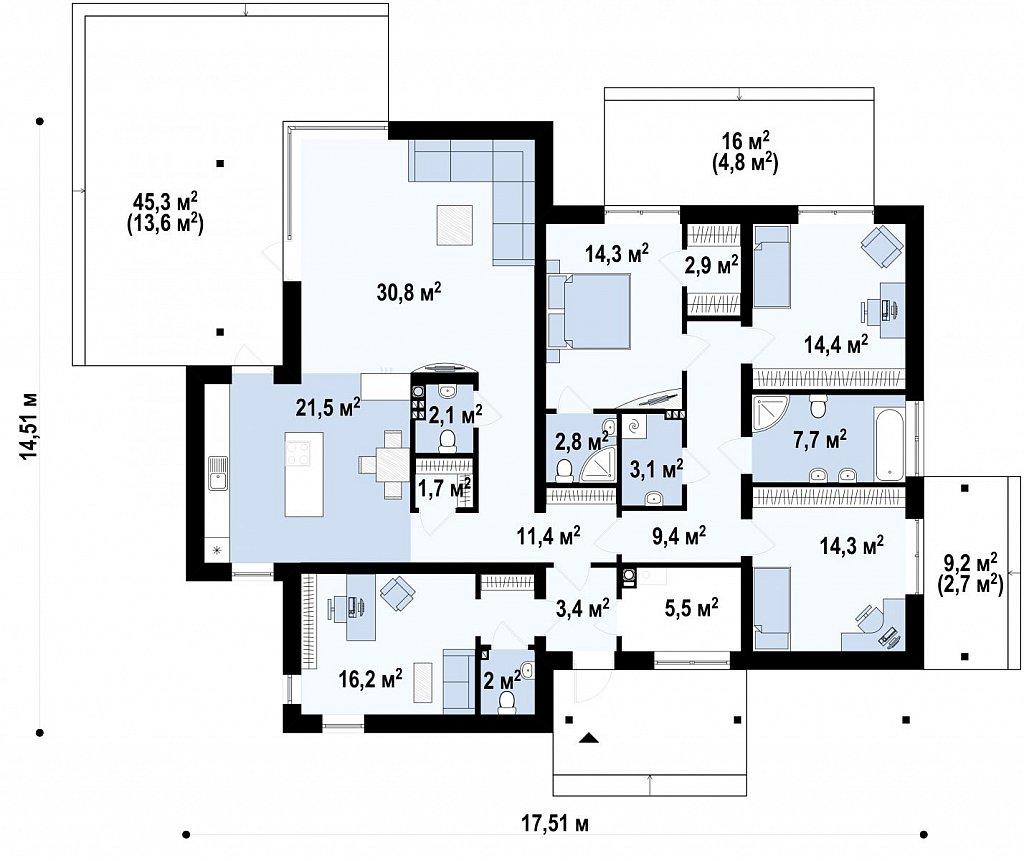 Одноэтажный дом в стиле хай-тек с четырьмя спальнями. план помещений 1
